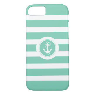 Minze-Grün u. Weiß Stripes Seeanker iPhone 8/7 Hülle