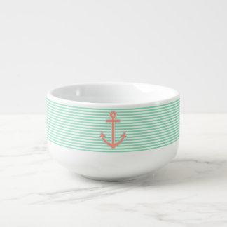 Minze Stripes den See Pfirsich-Anker Große Suppentasse