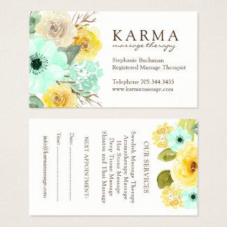 Minze und Gelb-BlumenVisitenkarten Visitenkarte