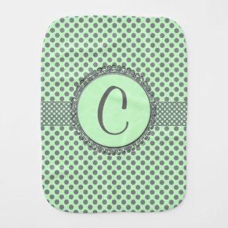 Minzen-Grün mit grauem Polka Punkt-Monogramm Baby Spucktuch