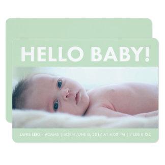 Minzen-hallo Baby-moderne Foto-Geburts-Mitteilung Karte