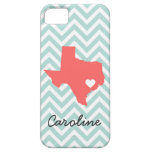 Minzen-u. korallenrote niedliche Texas-Liebe-Zickz iPhone 5 Etuis