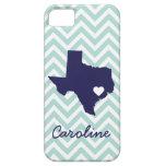 Minzen-u. Marine-Blau-niedliche Texas-Liebe-Zickza Etui Fürs iPhone 5