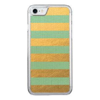 Minzen-und Goldfolien-Streifen gedruckt Carved iPhone 8/7 Hülle