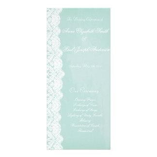 Minzen-und Spitze-Hochzeits-Programm Karten Druck