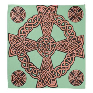 Minzengrün-Pfirsichknoten des keltischen Kreuzes Kopftuch