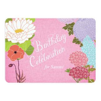 MischBlumen auf rosa Leinengeburtstag laden ein 12,7 X 17,8 Cm Einladungskarte