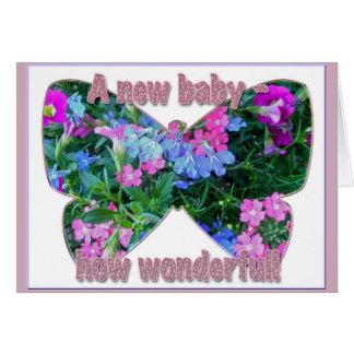 MischBlumen-neue Baby-Glückwunsch-rosa Karte