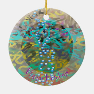 Mischteigwaren-abstrakter Entwurf w Ihr Text Rundes Keramik Ornament