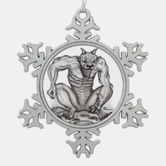 Mischung-Geschöpf - Schleppangel, Golem und Teufel Schneeflocken Zinn-Ornament