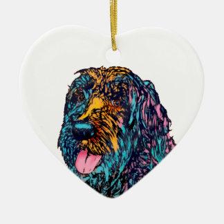 Mischzucht-Hund Keramik Herz-Ornament