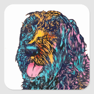 Mischzucht-Hund Quadrat-Aufkleber