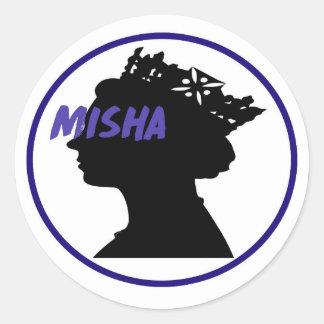 Misha u. die Königin Runder Aufkleber