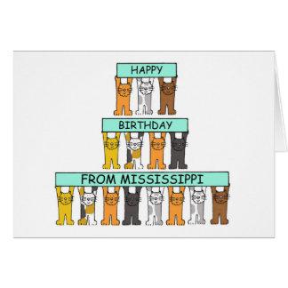 Mississippi-Geburtstags-Katzen Grußkarte