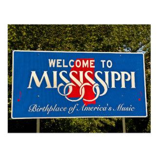 Mississippi-Willkommensschild Postkarte