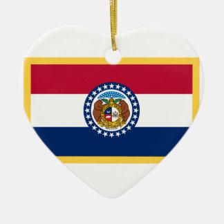 Missouri-Flagge Keramik Herz-Ornament