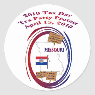 Missouri-Steuer-Tagestee-Party-Protest Runde Sticker