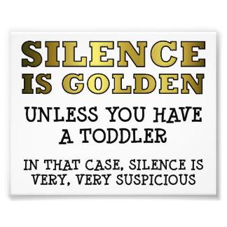 Misstrauische Ruhe mit Kleinkind-lustigem Plakat Fotodrucke