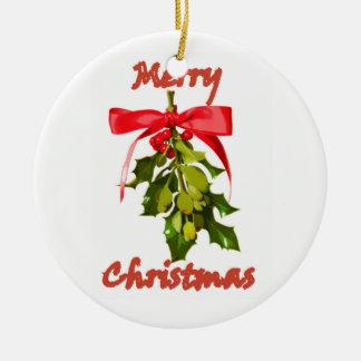 Mistelzweig der frohen Weihnachten besonders Rundes Keramik Ornament