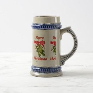 Mistelzweig der frohen Weihnachten Bierglas
