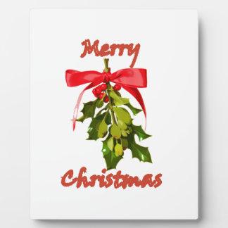 Mistelzweig der frohen Weihnachten Fotoplatte