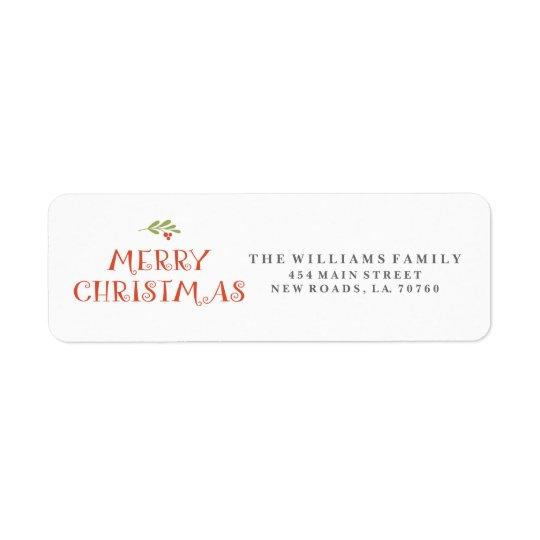 Mistelzweig-frohe Weihnacht-Adressen-Etiketten Rückversand-Adressaufkleber