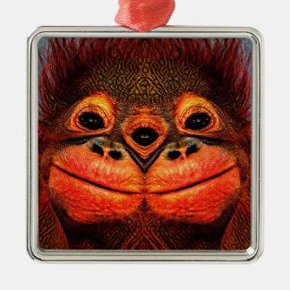 Mit Augen Affe psychedelische drei Quadratisches Silberfarbenes Ornament