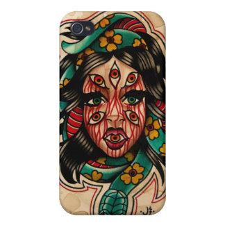 Mit Augen Artwatercolor-Mädchen der Tätowierungs-8 iPhone 4 Hüllen