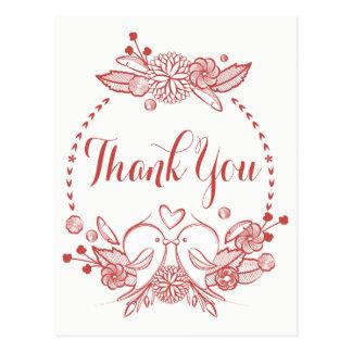 Mit Blumen danke BurgunderLovebirds, die Kranz Postkarte