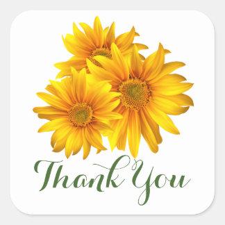 Mit Blumen danke die gelben Sonnenblumen u. grüne Quadratischer Aufkleber