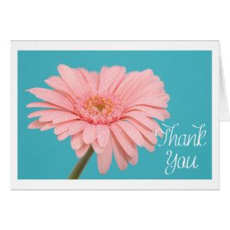 Mit Blumen danke rosa Gerbera-Gänseblümchen-Blau Karte