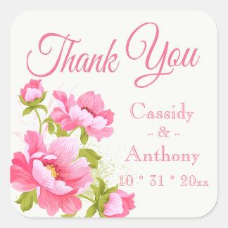 Mit Blumen danke rosa Quadratischer Aufkleber
