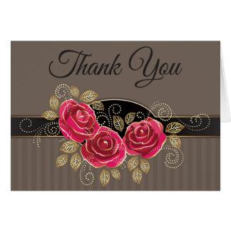 Mit Blumen danke rosa Rosen-Blumen-Grau/Brown Karte