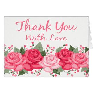 Mit Blumen danke Rosen-Blumen-Rosa-Weiß-Liebe Karte