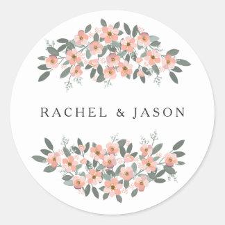 Mit Blumen erröten Watercolor-Hochzeits-Umschlag Runder Aufkleber