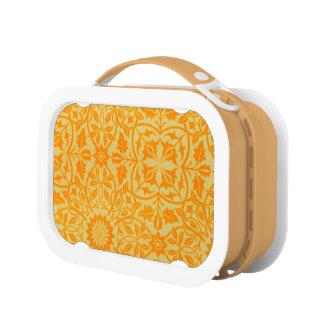 Mit Blumen in der Orange und im Gold Brotdose