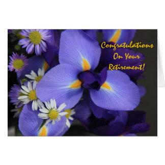 Mit Blumen, Iris und Minigänseblümchen, Ruhestand Karte