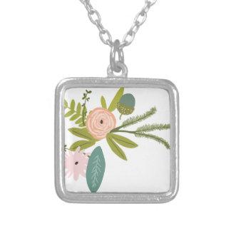 Mit Blumen und Fauna Halskette Mit Quadratischem Anhänger