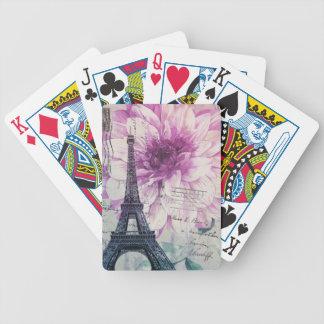 Mit Blumenturm Boho Chic-Vintager Paris Eiffel Bicycle Spielkarten