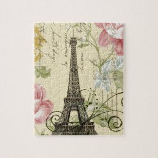 Mit Blumenturm Girly Chic-Vintager Paris Eiffel Puzzle