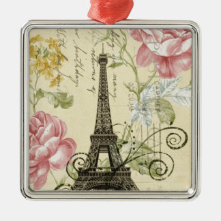 Mit Blumenturm Mod-Girly Vintager Paris Eiffel Quadratisches Silberfarbenes Ornament