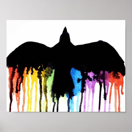 Mit dem Regenbogen Poster