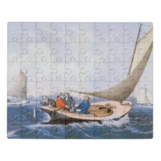 Mit der Schleppangel fischen für blaues Fsh vor Puzzle