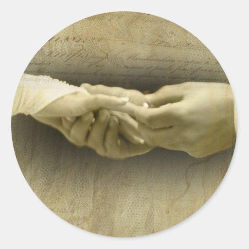 Mit diesem Ring romantische Vintage Hochzeits-Lieb Runde Aufkleber
