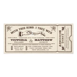 Mit diesem Ring Vintage Hochzeits-Karten-Einladung