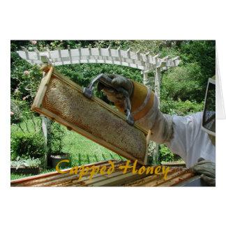 Mit einer Kappe bedeckter Honig Grußkarte