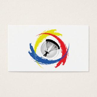 Mit Fallschirm abspringendes Tricolor Emblem Visitenkarte