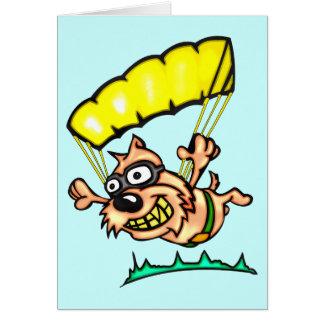 Mit Fallschirm abspringenhund Mitteilungskarte