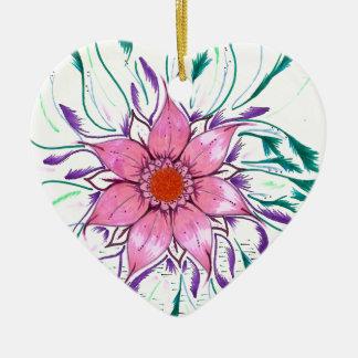 Mit Federn versehene Blume Keramik Herz-Ornament