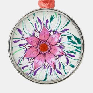 Mit Federn versehene Blume Rundes Silberfarbenes Ornament
